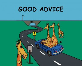 A giraffe who is a driving instructor gives some good advice to his student. The advice applies to life as well as to driving.