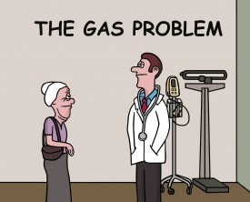 An old lady visits the doctor about a gas problem. She says her farts are not that bad because they never stink and are always silent. That's a relief!