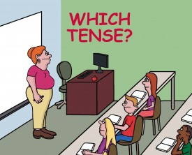Tense is a category that expresses time reference. When a teacher asks the class to identify the tense of a sentence, one boy shows he understands fully.