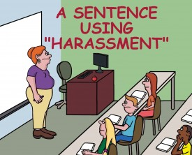 """Can anyone give me a sentence using the word, harassment"", asked the teacher to her students. A boy raises his hand and gives the perfect answer."
