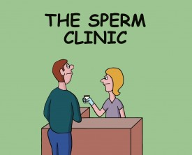 At the sperm clinic, a man makes an enormous deposit. The nurse shows her gratitude as he heads out the door. She's only being polite!