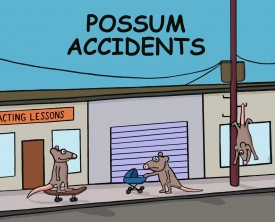 A possum arrives at a bad accident scene and, as expected, finds it difficult to perform triage. What's a possum to do when everyone is incapacitated!