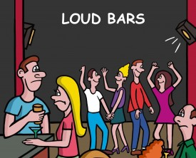 Loud bars can prevent people from having intelligible conversations. A man comes to this realization really quick when trying to converse with a woman.