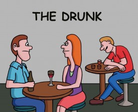 A guy notices a drunk at a bar and finds out from his wife that she use to date him along time ago. That explains everything!