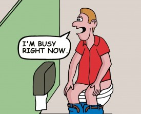 """I'm busy right now"", said the man as he was taking a dump. It's peculiar, but the guy in the adjoining bathroom stall wants to have a conversation."