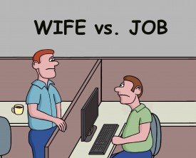 A man compares his wife to his job. He tells his coworker that his wife use to possess some of the same attributes as his job but not anymore.