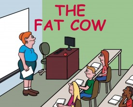 The fat cow, the sloppy pig, and the chicken all give us a commodity. When asked what items, a boy gives a teacher an answer she wasn't expecting.