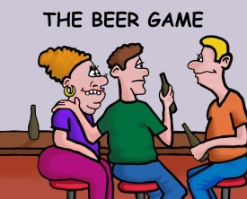 Two friends like playing a beer game. Once they arrive at the bar, they each guess how many beers are necessary. The one who comes closest wins.