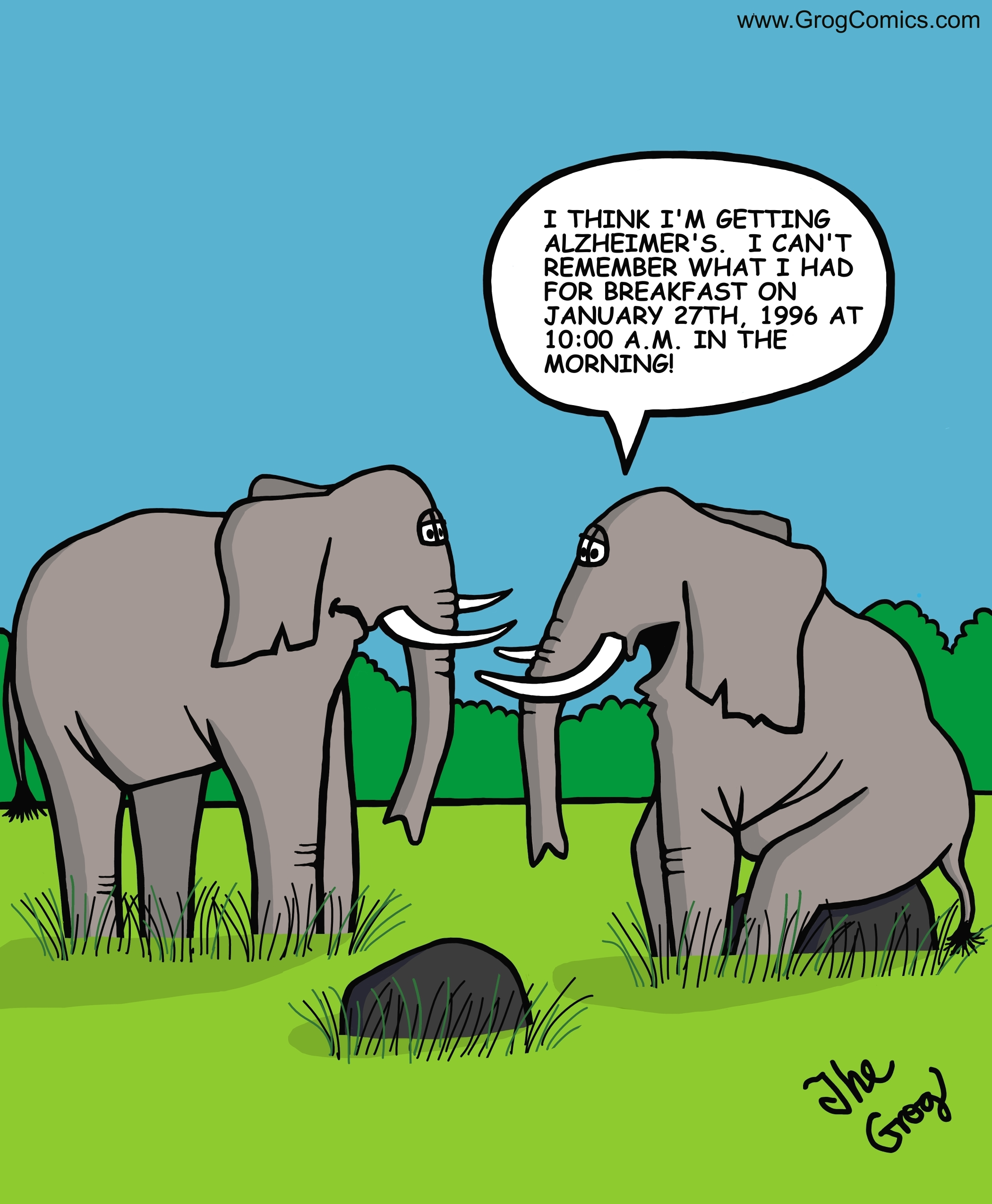 """One elephant says to the other, """"I think I'm getting Alzheimer's. I can't remember what I had for breakfast on January 27th, 1996 at 10:00 am in the morning."""""""
