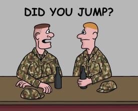 The first jump at Airborne training is scary for all soldiers especially if you have a bad-ass sergeant threatening those who freeze at the door.